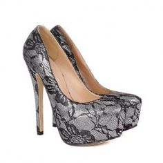 Party Women's Pumps With Lace and Stiletto Heel Design