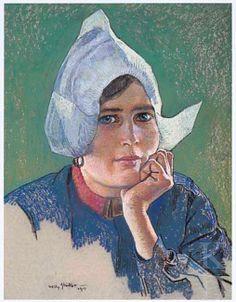 Willy Sluiter Portret van Hille Butter (1891-1968), 1917 gedateerd Ommen, kunsthandel Mark Smit Kunsthandel B.V. werkzaam in het Hotel Spaander te Volendam, waar talrijke kunstenaars logeerden; ze was een geliefd model en bevriend met vele kunstenaars