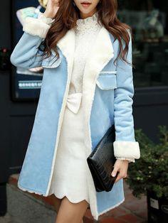 Long Sleeve Faux Suede H-line Sweet Coat