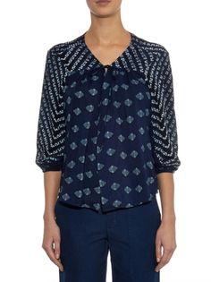 VELVET By Graham & Spencer Bebe Contrast Print Cardigan Jacket Navy Blue S $158 #VelvetbyGrahamSpencer #Cardigan #Casual