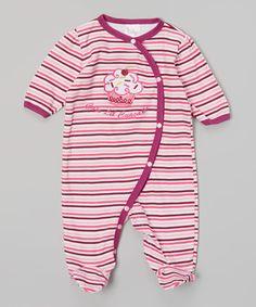 Look what I found on #zulily! Pink 'Cute Lil Cupcake' Stripe Footie - Infant #zulilyfinds