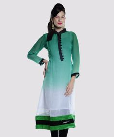 Enhance your charm and elegance with veritaas fashion as it brings to you this colourful collection of kurtis and more. Featuring marvelous designs, prints and colours, this line-up will highlight your high taste in style and fashion.BRAND: LavennderCATEGORY: KurtaCOLOUR: Green, Black and WhiteMATERIAL: Faux GeorgetteSIZE: This product conforms to the standard brand sizing. For your shopping convenience.