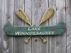 Winnipesaukee Paddles & Canoe Sign