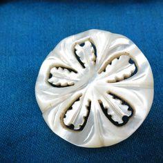 Vintage Carved Mother OF Pearl Button Metal Shank   eBay