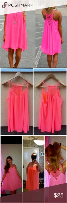 """Chiffon 2-Layer Beach Coverup Dress in Pink NWT Fluorescent rose loose and comfy double-layer spaghetti strap sleeveless beach bikini or swimsuit coverup.  I wear mine as a nightgown too!   So cute!  Materials, including pretty mesh backing, are poly, nylon, acrylic and spandex. Sizes are true to fit.  Inner layer of XXL measures: bust 47"""".  Length when laid flat is 41"""".  We ship fast, offer bundle discounts, and include a FREE NWT gift with each order.  Photos show various colors. This…"""