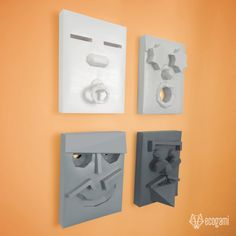Four minimalist papercraft faces | DIY decoration | Low Poly 3D wall hangings | Printable PDF pattern | Baby, young, adult & old man faces