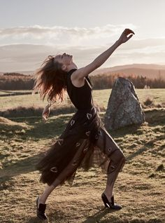 "Harper's Bazaar UK April 2017 ""High Priestess""  photography Agata Pospieszynska model Elise Crombez  styling Charlie Harrington  hair Kota Suizu  make-up Marie Thomsen  location: Sunhoney Stone Circle & Easter Aquhorthies Stone Circle, Scotland           via smile / models"