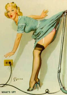 Pin up girl and a vacuum cleaner accident. #retro #pinup