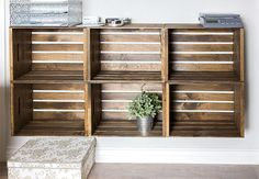 Jenna Sue: Studio Updates: Rustic Crate Storage Wall Made from prebuilt storage boxes at JoAnns