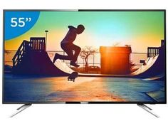 "Smart TV LED 55"" Philips 4K/Ultra HD 55PUG6102/78 - Conversor Digital Wi-Fi 4 HDMI 2 USB DTVi"