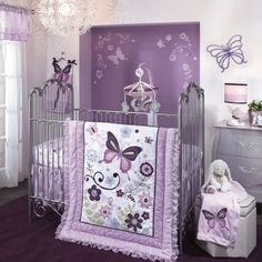 Lambs & Ivy Butterfly Lane 5-Piece Crib Bedding Set. Purple and Lavender color palette has a royal feel and who does not like butterflies?