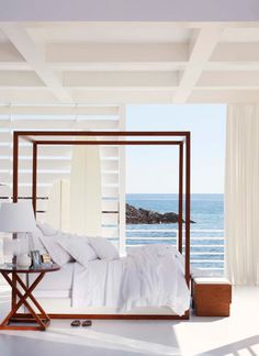 Ceiling :: Ralph Lauren Point Dume Bedding, Desert Modern Canopy Bed and Jamaica Side Table