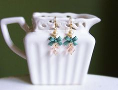 Innocence . mint bow with crystal and pearl earrings . CocoroJewelry on Etsy