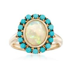 Opal and Sleeping Beauty Turquoise Ring in 14kt Yellow Gold