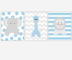 Baby Boy Nursery Art Blue Gray Grey Elephant Giraffe Lion Jungle Safari Zoo Animal Prints Boy Room Baby Nursery Decor Chevron Polka Dots