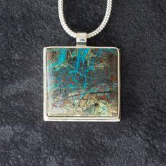 Echidna featuring Spiderweb Chrysocolla by LittleWondrousMonkey Echidna, Monkeys, Silver Jewelry, Pendant Necklace, Gemstones, Handmade, Rompers, Hand Made, Gems