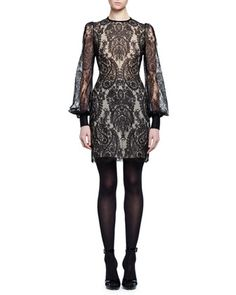Long-Sleeve+Baroque+Lace+Dress,+Black++by+Alexander+McQueen+at+Bergdorf+Goodman.