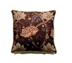 William Morriss Windrush vintage 90s cotton, Arts and Crafts dark chocolate brown and beige cushion, throw pillow, home decor 20 x 20 ins