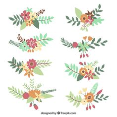 Discover thousands of copyright-free vectors. Graphic resources for personal and commercial use. Thousands of new files uploaded daily. Folk Art Flowers, Hand Drawn Flowers, Flower Art, Watercolor Flowers, Watercolor Art, Embroidery Patterns, Print Patterns, Vintage Typography, Vintage Logos