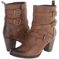 C Label Sandra-11 Women's Boots, Brown ($66) ❤ liked on Polyvore featuring shoes, boots, ankle booties, brown, thick booties, high heel short boots, high heel ankle boots, short boots and side zip boots