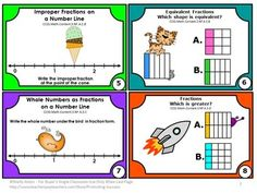 FREE Fractions Task Cards Common Core Math Centers Games 3rd Grade SCOOT