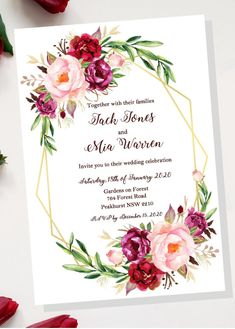 Excited to share this item from my #etsy shop: Floral Design Wedding Invitation Template, Save the Date, RSVP, Thank You Card - Custom DIY made to order - Digital PDF Download