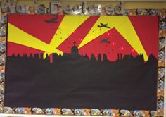 This year's World War 2 display with red lights and black drawing pins as the falling bombs-January 2014 by Debby Wire Classroom Display Boards, Classroom Displays, Ks2 Classroom, World War 2 Display, Primary School Art, Ww2 History, History Pics, School Library Displays, The Time Machine