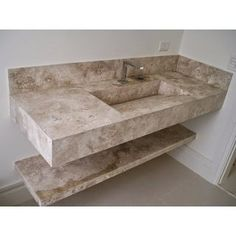 Pia De Porcelanato Portobello Com Cuba Esculpida - R$ 700,00 Bathroom Sink Design, Art Deco Bathroom, Bathroom Design Luxury, Sliding Bathroom Doors, Pop False Ceiling Design, Washbasin Design, Home Design Plans, Terrazzo, Furniture Design
