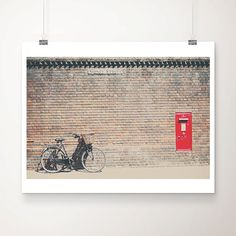 bicycle photograph, bike, bicycle, cambridge photograph, brick, wall, red, letter box, england, color photography, travel photograph, brown