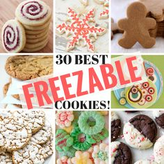 30 Best Freezable Cookies ~ the best cookie recipes to make and freeze ahead, th. 30 Best Freezable Cookies ~ the best cookie recipes to make and freeze ahead, these easy tried and true recipes will make your holiday baking a breeze! Easy Holiday Cookies, Best Christmas Cookies, Holiday Cookie Recipes, Xmas Cookies, Best Cookie Recipes, Holiday Baking, Christmas Baking, Macaroons Christmas, Freezable Cookie Dough