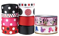 """HipGirl 46yd 7/8\"""" & 3/8\"""" Ribbon Collection--Minnie Mouse and Mickey Mouse >>> More info could be found at the image url."""