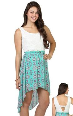 Deb Shops ivory lace tank with #tribal print chiffon high low skirt and leather belted waist $34.90