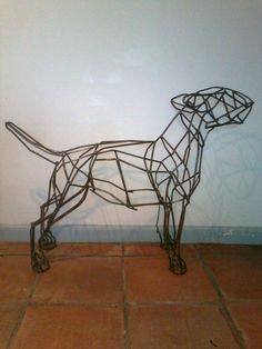 Sculpture: 'Bull Terrier Dog (Mild Steel Bar Outside Sculptures)' by sculptor Emma Walker in Dog Sculptures - Garden Sculpture for sale - Ar...