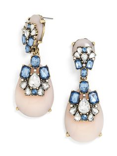 These statement earrings come in a pale pink and blue colorway that could have been plucked right from the Duchess of Cambridge's closet. Stately sapphire and crystal gems accent cloudy rose-quartz gems.