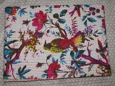 100% Cotton Kantha Quilt Indian Bed Cover Blanket Handmade Bedspread Throw 22