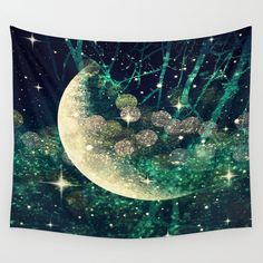 Moon Dust Wall Tapestry by connieens Tapestry Bedroom, Wall Tapestry, Moon Dust, Light Touch, Society 6 Tapestry, Vivid Colors, Decor Styles, Hand Sewing, Design Trends