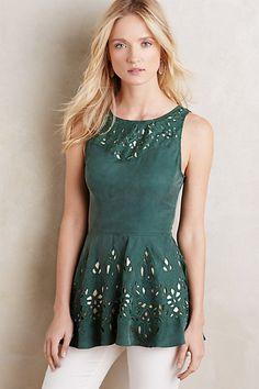 Arboreto Peplum Top #kasnewyork #fashion #top #stylish #boho #vback #green
