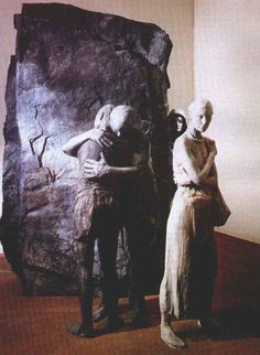 """wpeAA.jpg (661×902) Segal's sculpture """"Abraham's Farewell to Ishmael"""" (is that Sarah in the background?)"""