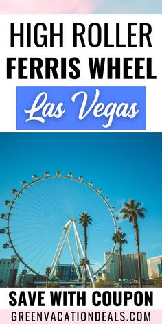 Coupon, promo code, discounted ticket for High Roller ferris wheel at the LINQ on the Las Vegas Strip. You'll love visiting the world's largest observation wheel! You can get amazing views of Las Vegas Nevada. And drinks are available during the 30 minute relaxing ferris wheel ride. Things to do in Las Vegas. Travel planning for a Vegas vacation. #LasVegas #Vegas #LasVegasNevada #HighRoller #observationwheel #LasVegasStrip #Vegasbaby #LINQ #ferriswheel #Nevada #Travel #VegasVacation Las Vegas Restaurants, Las Vegas Hotels, Las Vegas Nevada, Las Vegas Vacation, Vacation Spots, Las Vegas Discounts, High Roller Ferris Wheel, Las Vegas Coupons, Trip Planning