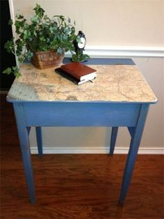 Whole tutorial in doing this cute school desk.  Using Old Maps in New Decor