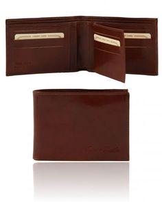TL140817 Exclusive leather 3 fold wallet for men - Esclusivo portafoglio uomo in pelle 3 ante