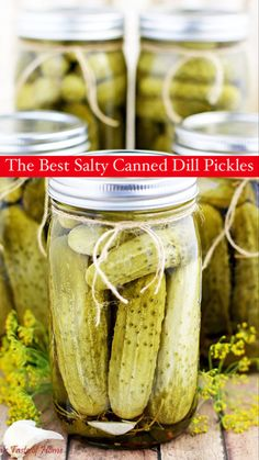 This Easy Canned Dill Pickles Recipe has a long history in my family, and most other Slavic households, as I can imagine. I really enjoy canning fruit and vegetables. #canning #pickles #dill #dillpickles #valyastasteofhome   www.valyastasteofhome.com Chef Recipes, Sweets Recipes, Yummy Recipes, Healthy Recipes, Pickles Recipe, Canning Pickles, Good Food, Yummy Food, Recipes From Heaven