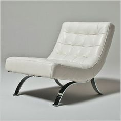 Abaco Accent Chair - White Leather Chair - Modern