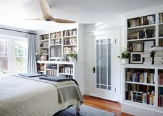 The bookshelves in the bedroom.... The Mysteries of Berkeley: A Literary Couple at Home: Remodelista