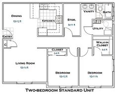 2 Bedroom Apartment Floor Plans (garage Apartment For Our Purposes)