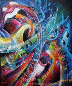 Kleur, dynamisch, muziek.  Schilderij van Sandra Boots