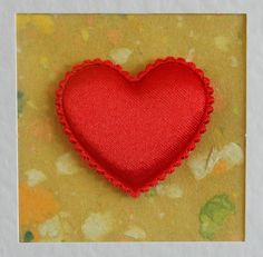 I Love You Card, blank, birthday, anniversary, wedding, engagement, red heart on yellow, contemporary, modern, with red envelope - pinned by pin4etsy.com