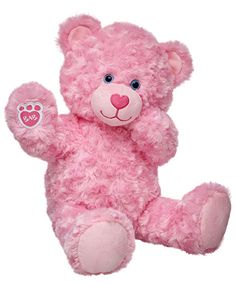 "16/"" BABW Build A Bear Teddy Pink Bright Pink Heart Nose /& Blue Eyes Unstuffed"