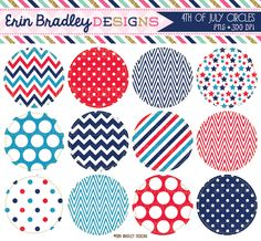 4th of July Holiday Circle Frames Clipart Personal  Commercial Use