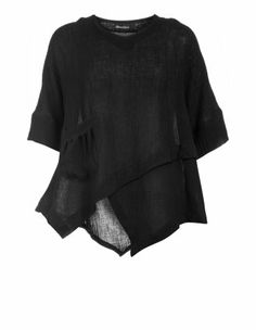 Linen tunic with asymmetrical hemline in Black designed by Donna Sophia to find in Category Tunics at navabi.de